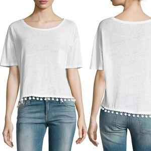 Rails White Billie Pom Pom Short Sleeve Tee Shirt
